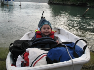 Toddler in the dinghy