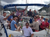 Party on Resolve in the marina