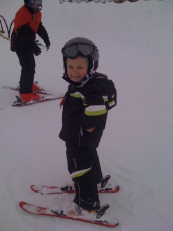 Seth's first day skiing - age 4