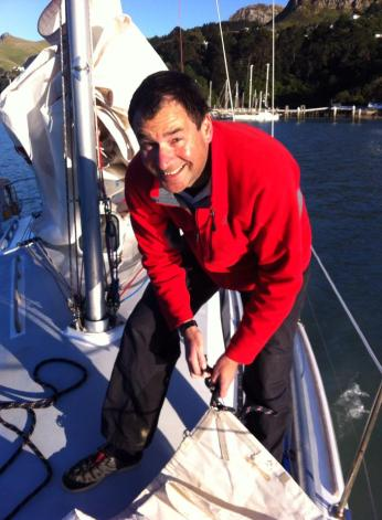 Kent rigging the boat