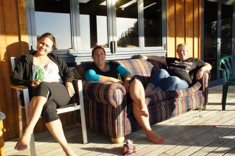 Enjoying the sun on the deck