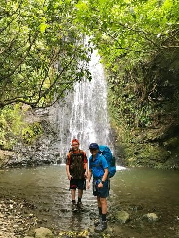 boys at the Flea Bay waterfall