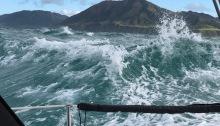 large wave in Karori Rip, Cook Strait