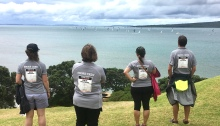Shore crew team standing on North Head watching the beginning of the RNI2020 yacht race